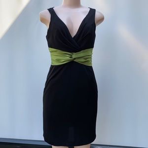 Kay Unger LBD with green sash style waistband